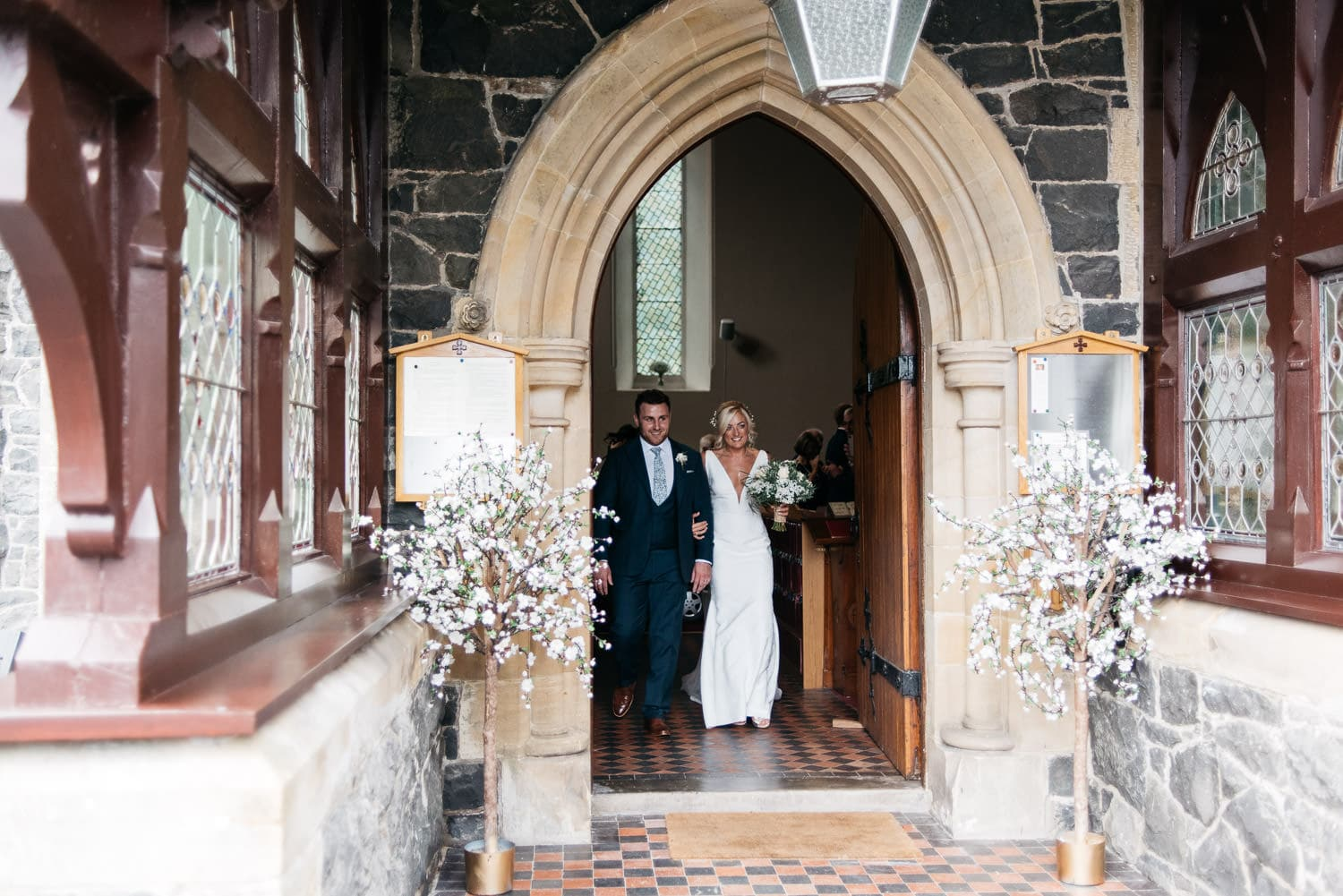 bride walking out of church Wedding Photographphy Northern Ireland