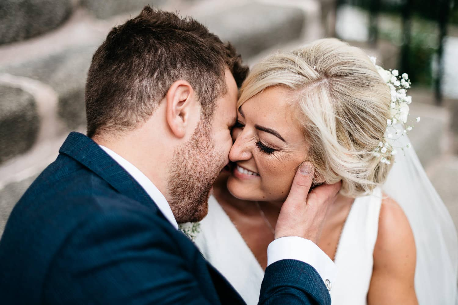 bride and groom close embrace Wedding Photographer Northern Ireland