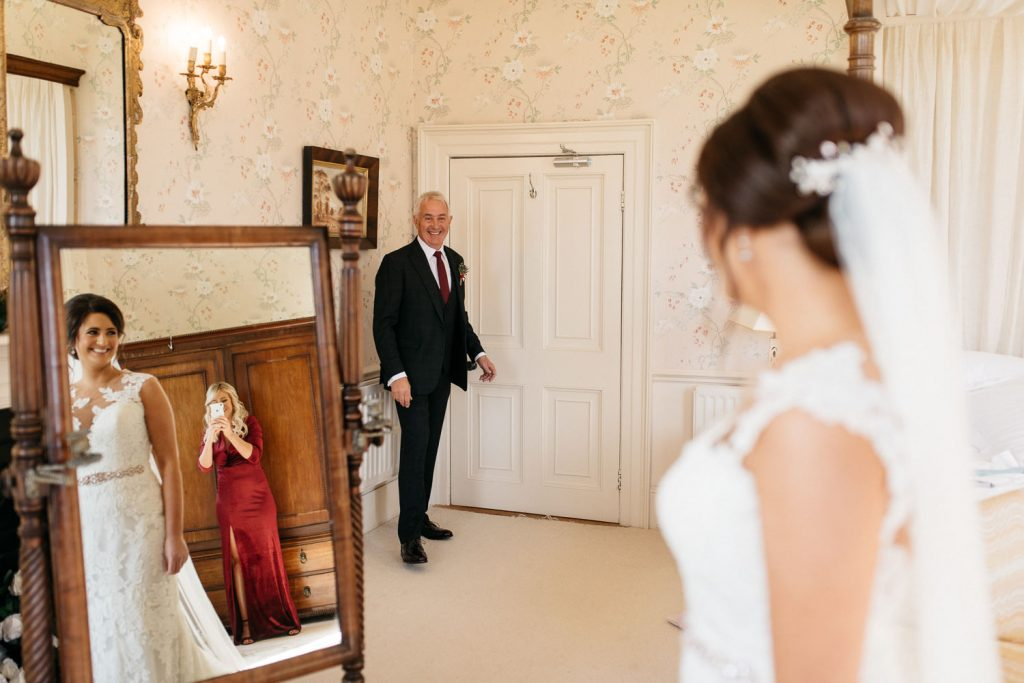 father and daughter first look Drenagh House Estate Wedding Photography