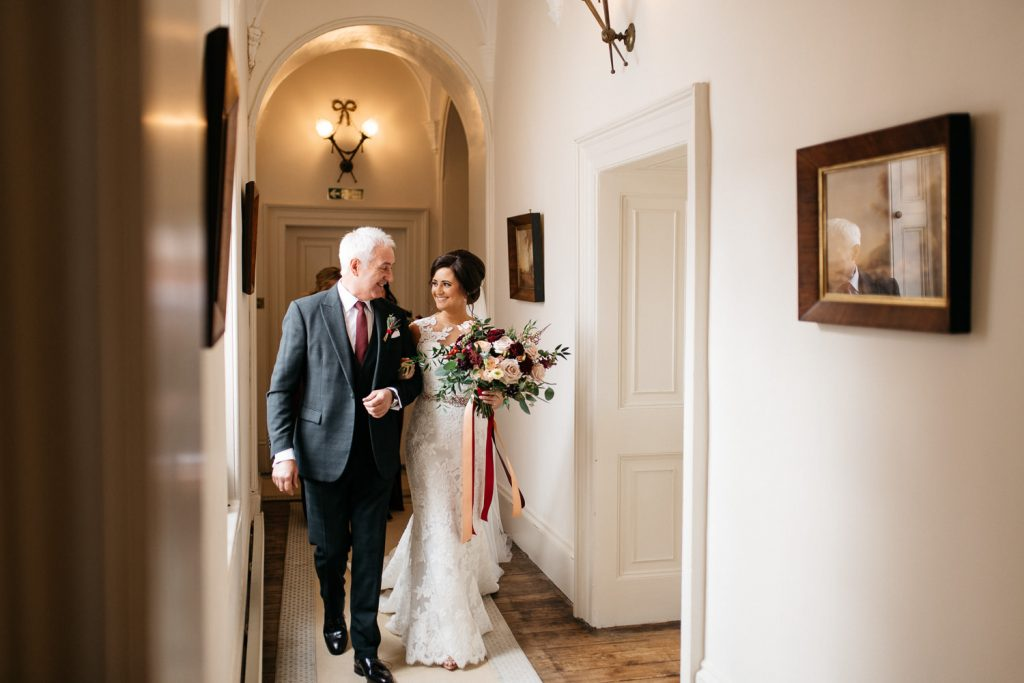 after walking bride down the hallway Drenagh House Estate Wedding