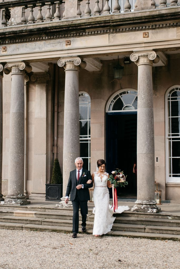 bride and father leaving for ceremony bride and groom dancing in the moon garden Drenagh House Estate Wedding Photography