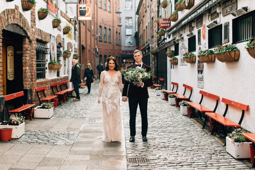 bride and groom at duke of your Merchant Hotel Belfast Wedding