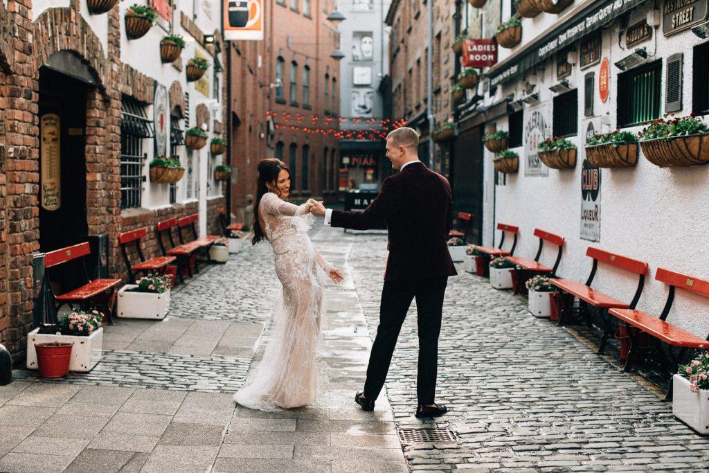 bride and groom dancing  at duke of your Merchant Hotel Belfast Wedding  Photographers