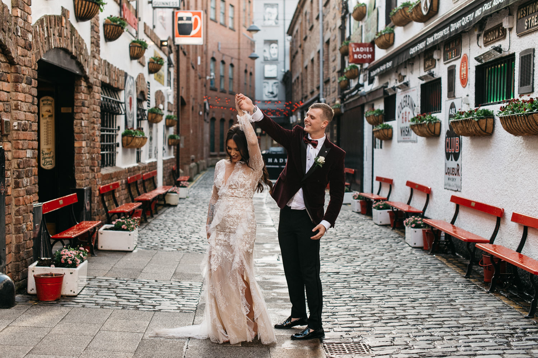 bride and groom dancing at duke of York Merchant Hotel Belfast Wedding