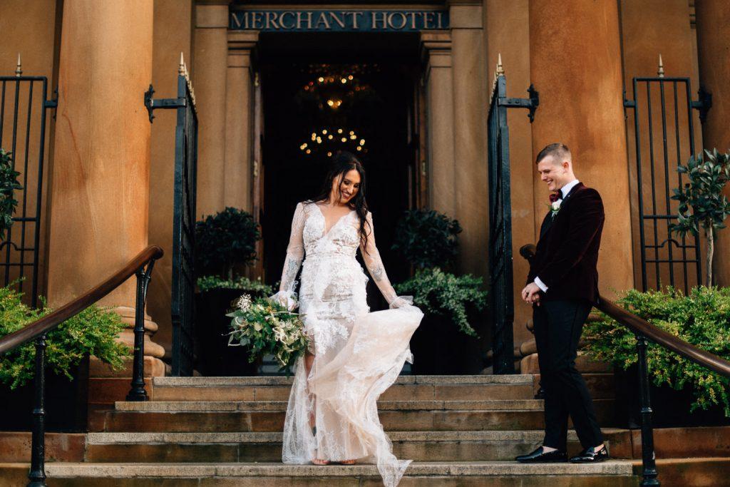 bride dancing on steps Merchant Hotel Belfast Wedding