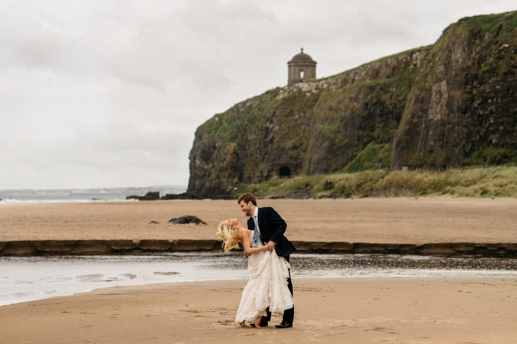 couple dancing on the downhill beach Northern Ireland Elopement Photographers